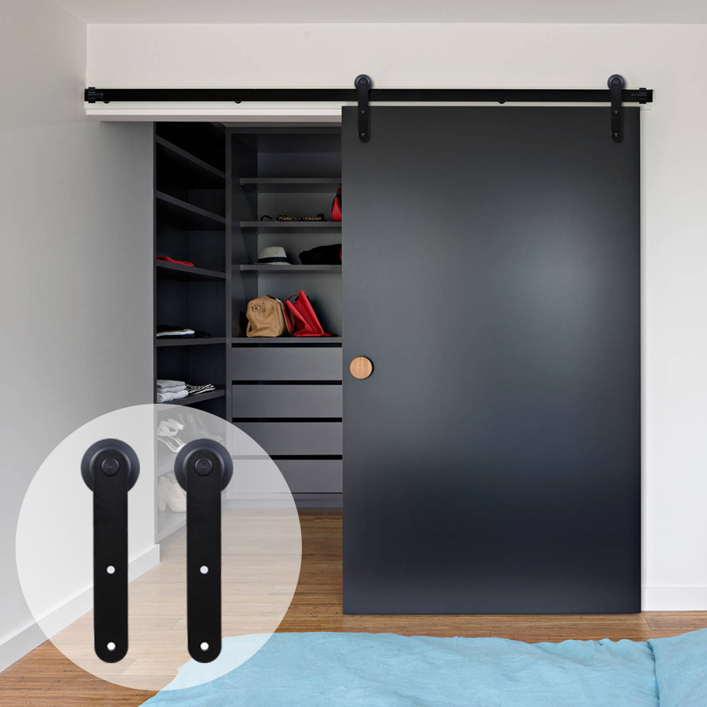 LWZH Wood Sliding Barn Door Hardware Kit Country Style Black Carton Steel Round Shaped Closet Door Roller Track For Single Door