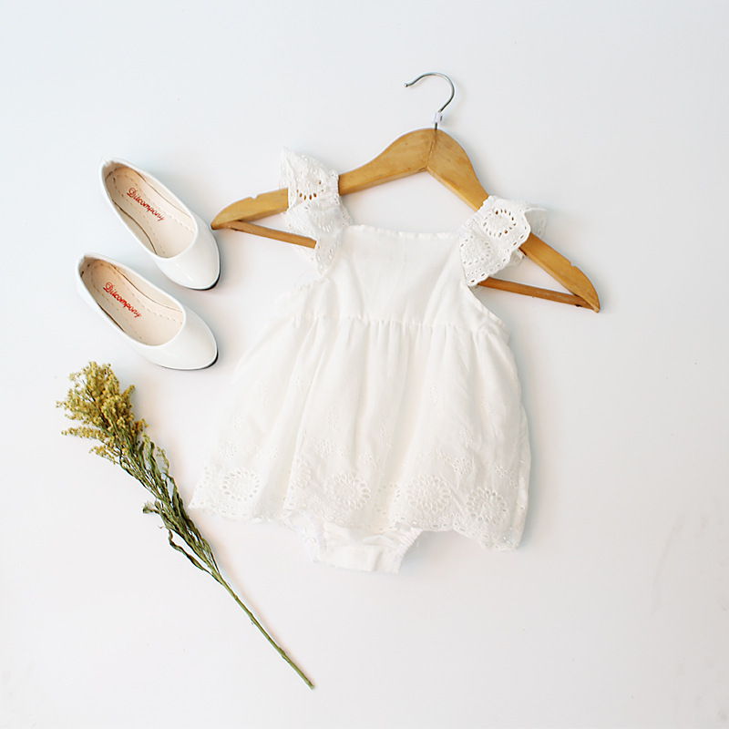 White Babys Lace Bodysuit Toddle Summer Princess Bodysuit Ruffles Sleeve Solid Kids Clothes Free Shipping