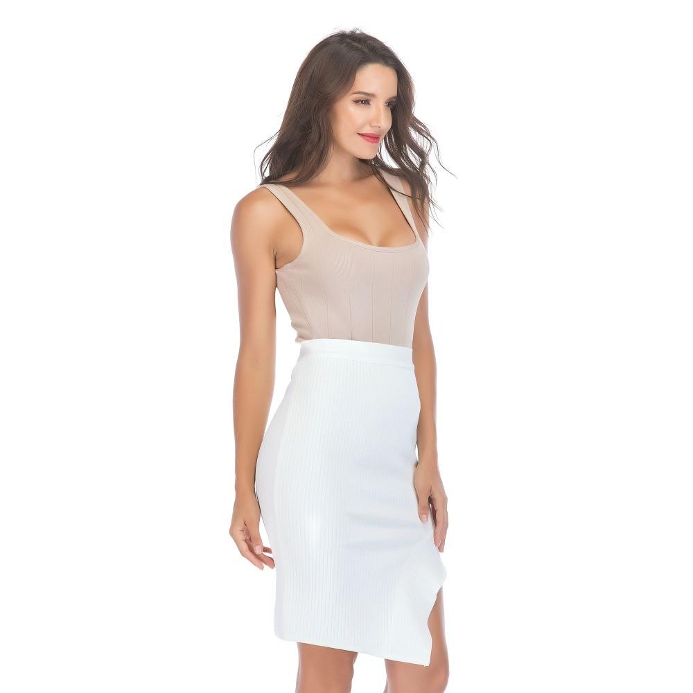 Femme Élastique Midi Pour Blanc Femmes Dames Volants Asymétrique Haute Taille Celebrity 2018 White Jupes Jupe Rencontres Vêtements Mode ZwFxYIn4