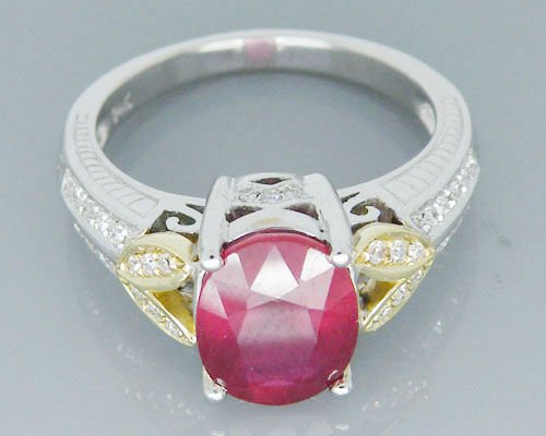 Vintage Ruby Ring ! Solid 14Kt Two Tone Gold Rings , Ruby Gemstone Rings For Women ,Natural Red Ruby Ring For Sale путь ruby