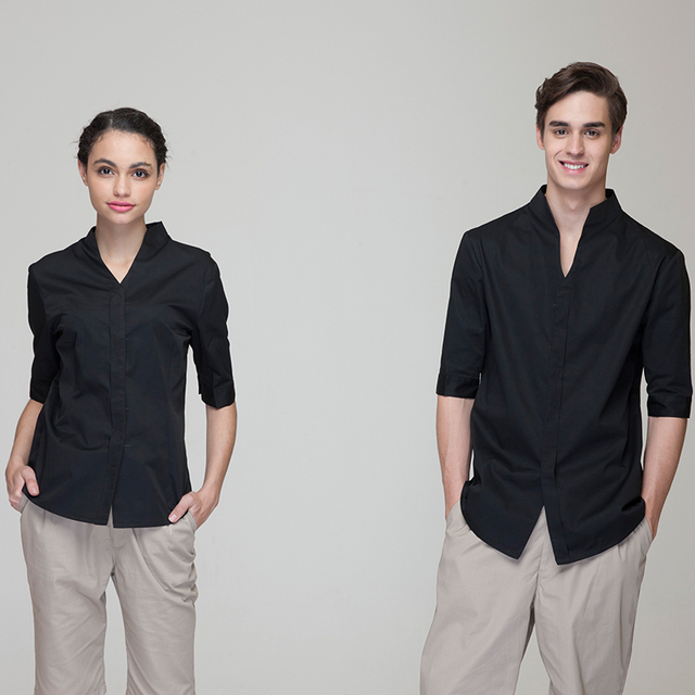 d17cd25621504 Fashion Restaurant Hotel Uniform Women Female Waitress Blouse Men Male  Waiter Shirt Short Sleeve Hidden Placket