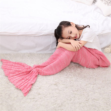 Knitted Mermaid Tail Blanket Handmade Crochet Mermaid Blanket Children Throw Bed Wrap Super Soft Sleeping Bag 70cm*140cm