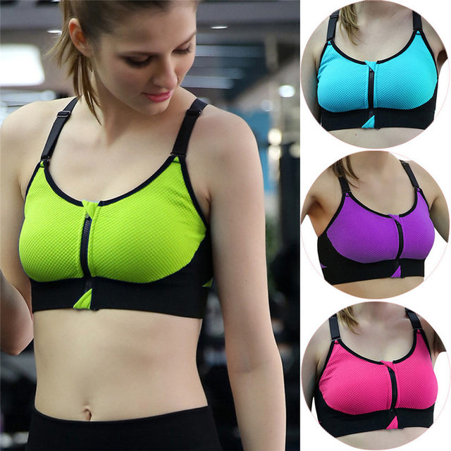 fa028c634e423 Women Sports Bras Padded Tank Top With Zipper Adjustable Strap Sport Vest  Sleeveless Seamless Gym Fitness Running Yoga Bra