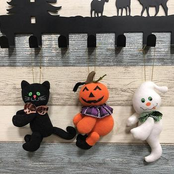 15*7CM Lovely Halloween Decorations Plush Dolls Ghosts Pumpkin Black Cat Hanging Ornament Children's Gift Toy Halloween YH1349