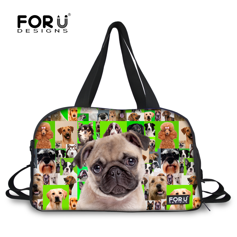 Forudesigns Casual Cute Animal Pug Dog Prints Women Men Luggage Bags Multifunctional Travel Duffle For Las Overnight Bag