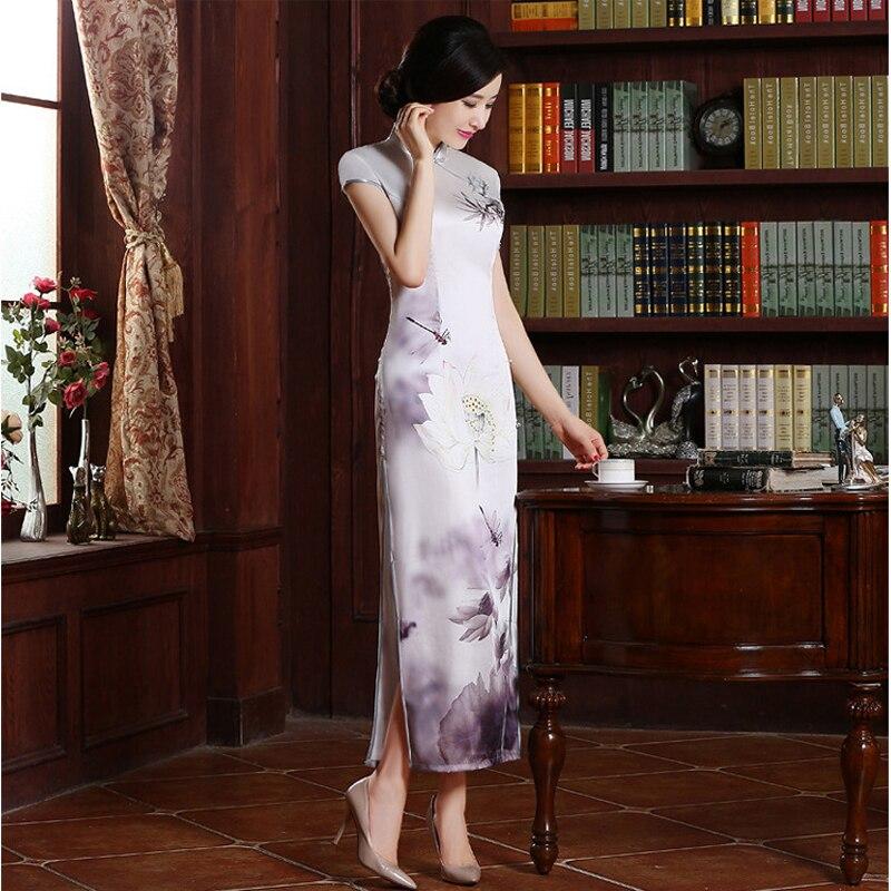 À Xl Cheong Nationalité Coil Femmes qipao De Chinois Marque 070107 M Xxl sam S Fleur Nouvelle La Arrivée Long sam Main Soie Clasper Robe L vtq6tB0