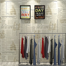 Newspaper wallpaper roll English letters retro fashion shop decoration hairdressing clothing store study old newspaper wall