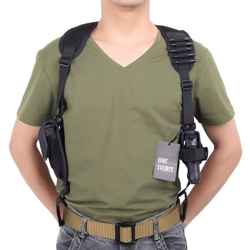 OneTigris Adjustable Tactical Shoulder Holster Military Pistol Gun Holster & Magazine Pouch for Right Hand Shooters tactical army force leather shoulder pistol holster for 654k with magazine pouch