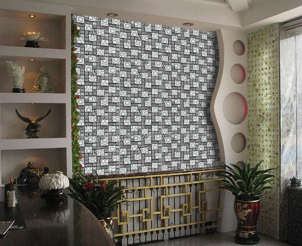 Black Silver Ss Metal Crystal Glass Mosaic Tile Mosaic Bathroom Swimming Pool Kitchen Backsplash Wall Sticker