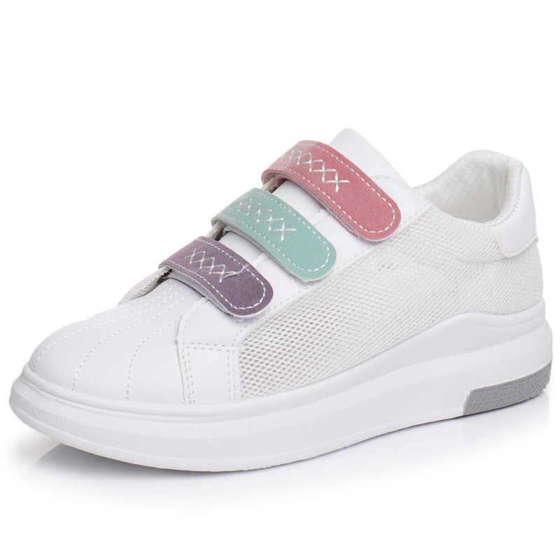 2019 женские летние кроссовки на толстой плоской подошве; женские белые туфли на застежке-липучке кожаные дышащие туфли из сетчатого материала; Размеры 35-40