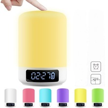 Clock Function Night Light Wake-Up LED Colorful Lights Bluetooth Speaker Small Lamps Bedside Creative Atmosphere
