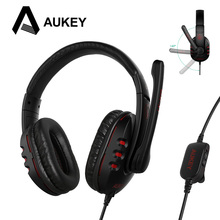 Cheapest AUKEY Gaming Headset Deep Bass Game Earphone with Stereo Sound Wired Headphone Noise Reduction with Mic for Smartphone/PC Xiaomi