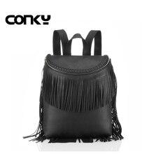 Новая Брендовая женская кисточкой рюкзак черный школьный рюкзак для девочек-подростков довольно стиль школьные сумки с бахромой Искусственная кожа рюкзак