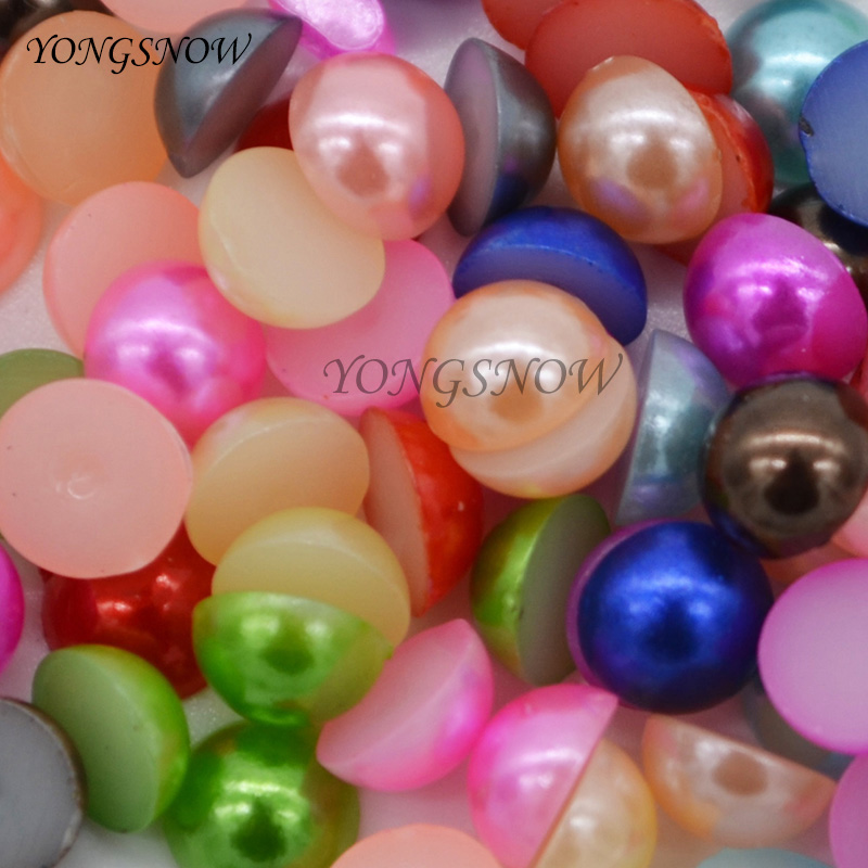 6mm 500pcs Multi Imitation Pearl Beads Half Round FlatBack Confetti Acrylic DIY Decoration Nail Art Design Jewelry Accessories