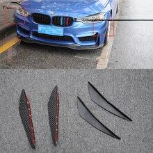 Автомобильное стильное украшение на лицевой стороне наклейки Карбон PU задняя сторона полоса для установки Губы Бампер Vent плавники отделка черный наклейки 4 шт./компл
