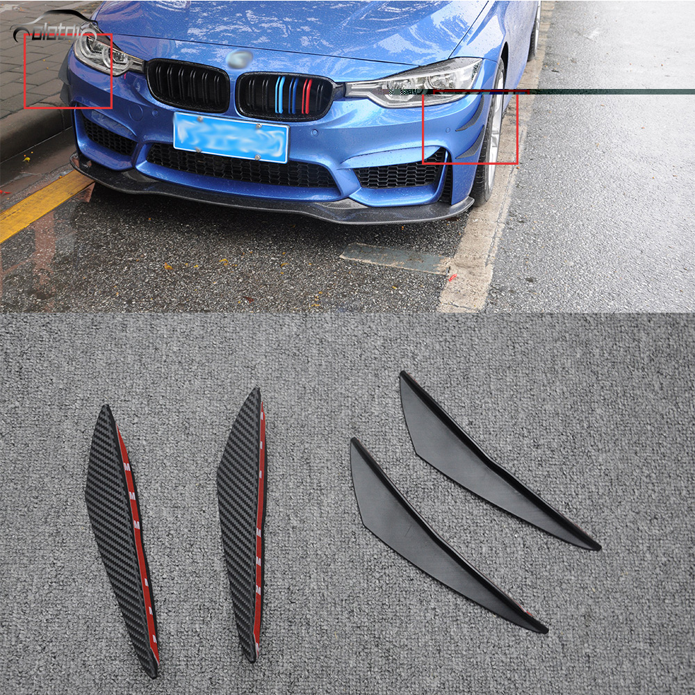 Car Styling Decorative Front Side Stickers Carbon Look PU Rear Side Lip Splitter Bumper Vent Fins Trim Black Decals  4pcs/set