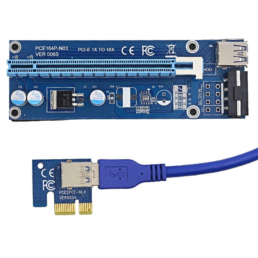 bilder für NOTAYO 20 stücke 1 Mt PCIe PCI-E PCI Express Riser Card 1x zu 16x mit USB 3.0 Kabel + SATA auf 4Pin IDE Netzkabel für BTC Miner
