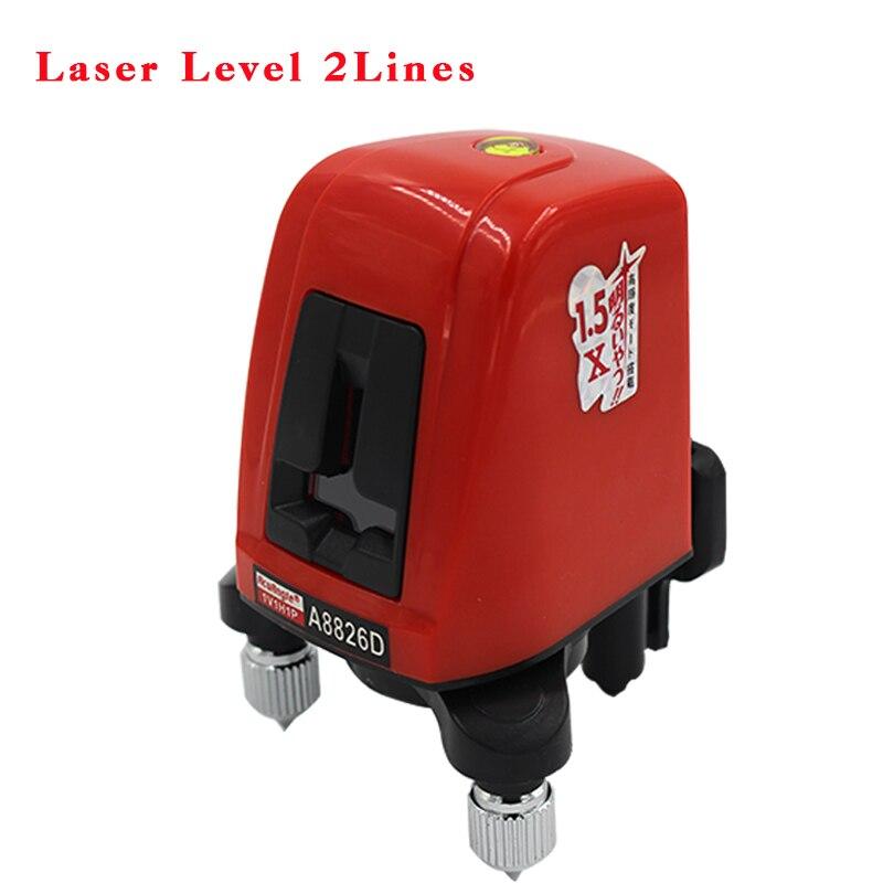 ACUANGLE A8826D 360 degree autolivellante Portatile mini Livelli Laser Metro 2 linea 1 punto Croce Rossa 635nm Livellamento strumento