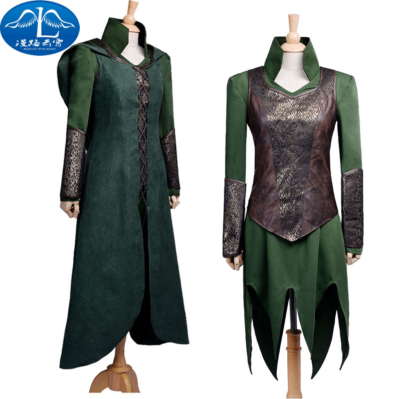 2016 New Arrival Custom Made Hot The Hobbit Desolation of Smaug Tauriel Cosplay Costume Suit  COS Clothing