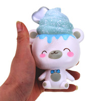 14cm Original Kawaii Soft Polar Bear Squishy Slow Rising Toy Larger Size Squishies Anti Stress Gift