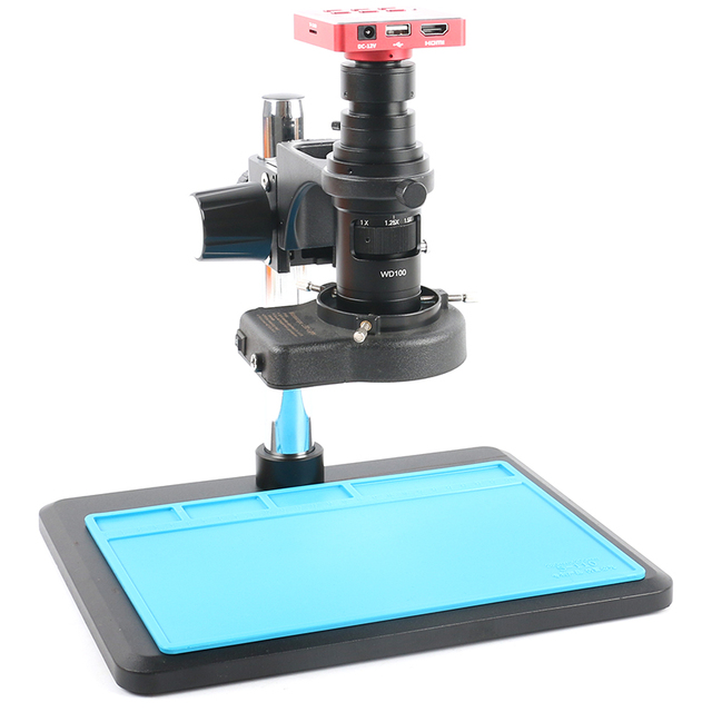 37MP FHD 1080P 60FPS HDMI USB Lab Digital Industrial Video Microscope Camera Zoom 200X Lens 170mm Phone PCB Repair Soldering