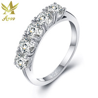 ANGG Trendy 925 Sterling Silver Ring Cubic Zirconia Party Wedding Engagement Jewelry Ring Wedding Bands Round