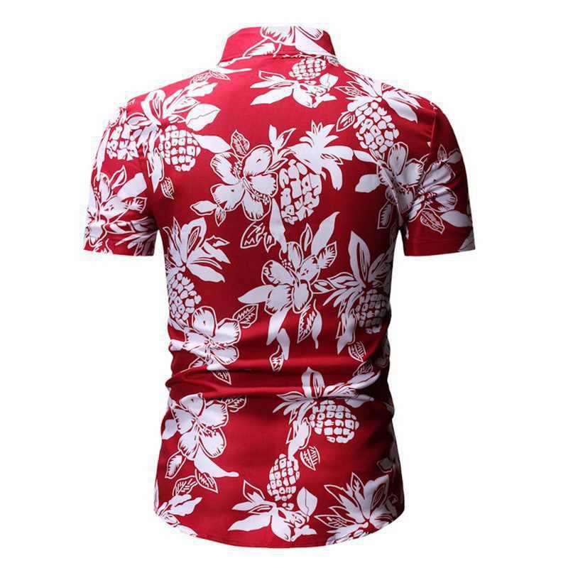 Camisa de manga corta impresa Casual de moda Hawaiana para hombres puimentiui camisa de vestir de negocios para hombres de corte Delgado
