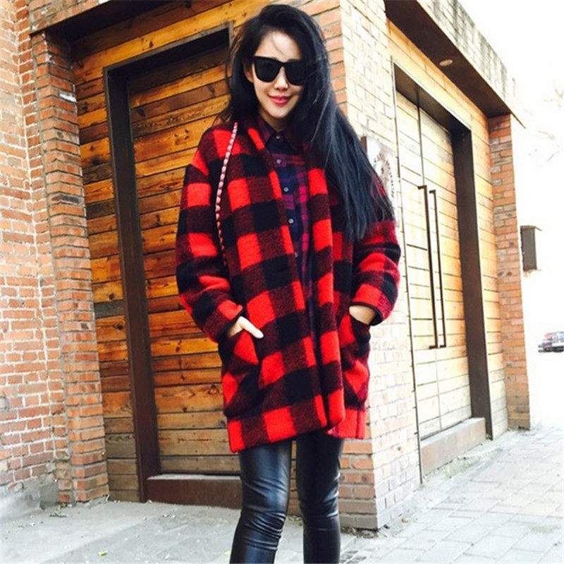 New Arrival vintage winter coats women's long wool coat red plaid ...
