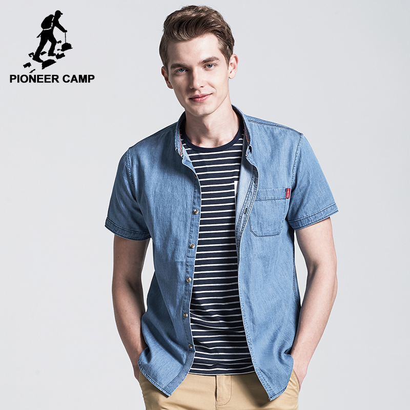 PioneerCamp Official Flagship Store Pioneer Camp New short shirt men brand-clothing fashion solid denim shirt male top quality 100% cotton shirts for men ADC705094