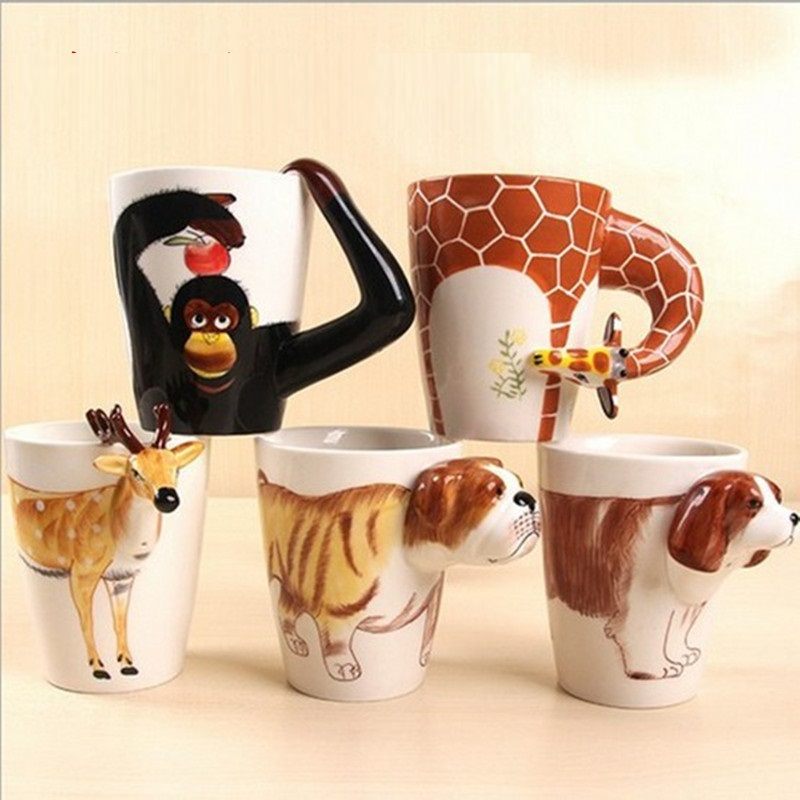 3d Ceramic Hand Painted Cartoon Animal Mug Cute Dog Cat