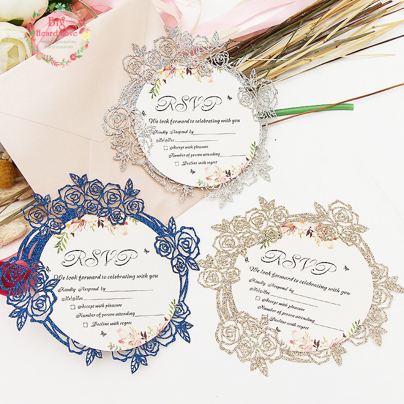 Us 0 97 10 Off 1set Sample Glitte Paper Invitation Card Flower Shape Party Wedding Birthday Rsvp Card Table Place Name Card For Guest Wedding In