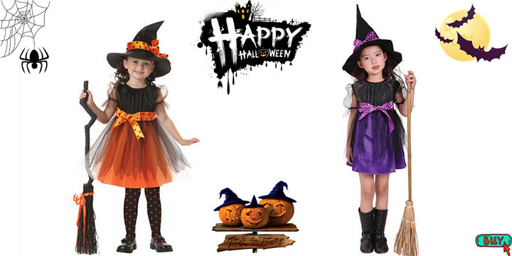 Halloween Kids Toddler Baby Girls Dresses Outfit Ruffled Long Sleeve Romper+Witch Hat Print Strap Skirt Set