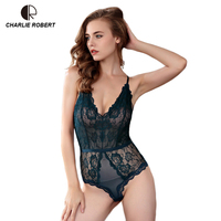 CR New Transparent Lace Sexy Hollow Vest Deep V Teddy Europe Thin Bra Sets WI533