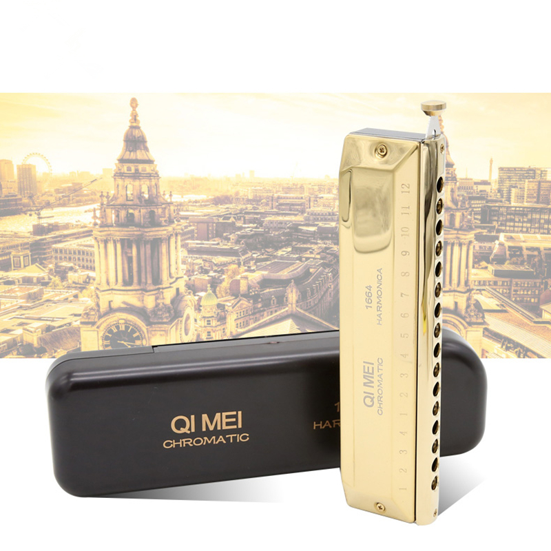 QiMei 16 Hole 64 Tone Chromatic Harmonica Professional Armonica Mouth Ogan Cromatica Harps gaita de boca music instruments