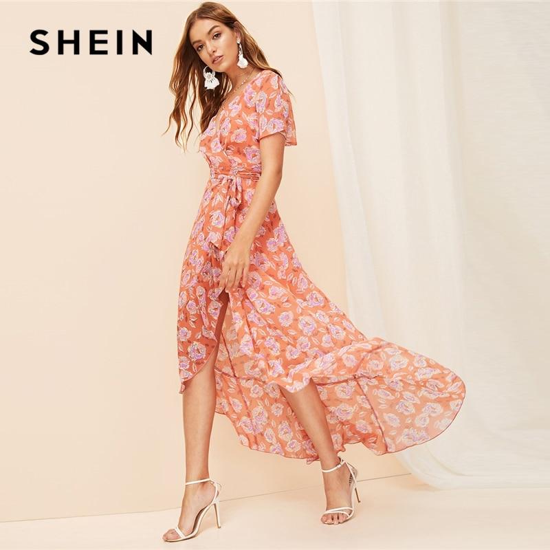 Шеин Бохо оранжевый Сплит рукав асимметричный подол обёрточная лента цветочный Макси летнее платье 2019 женское v-образный вырез а линия Элег...