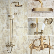 Bathroom Antique Brass Rain Shower Faucet Set with Handheld Shower Head / Wall Mounted Dual Handles Mixer Tap Wrs092