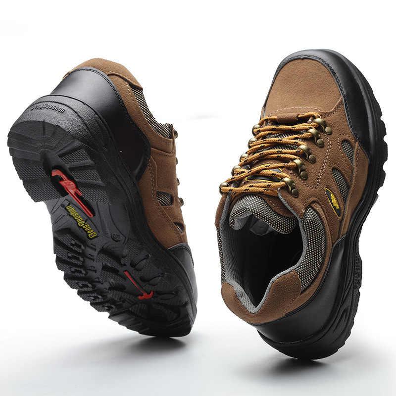CHAISHOU גברים אישה נעלי עבודה נעלי פלדת הבוהן זמש עור לנשימה שרוכים אנטי לנפץ אנטי פירסינג lsafety מגפי CS-153