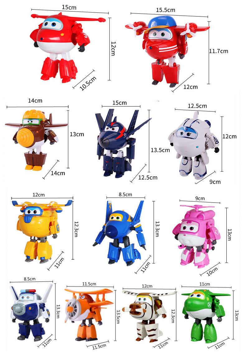 Grande!!! 15cm abs super asas deformação avião robô figuras de ação super asa transformação brinquedos para crianças presente brinquedos