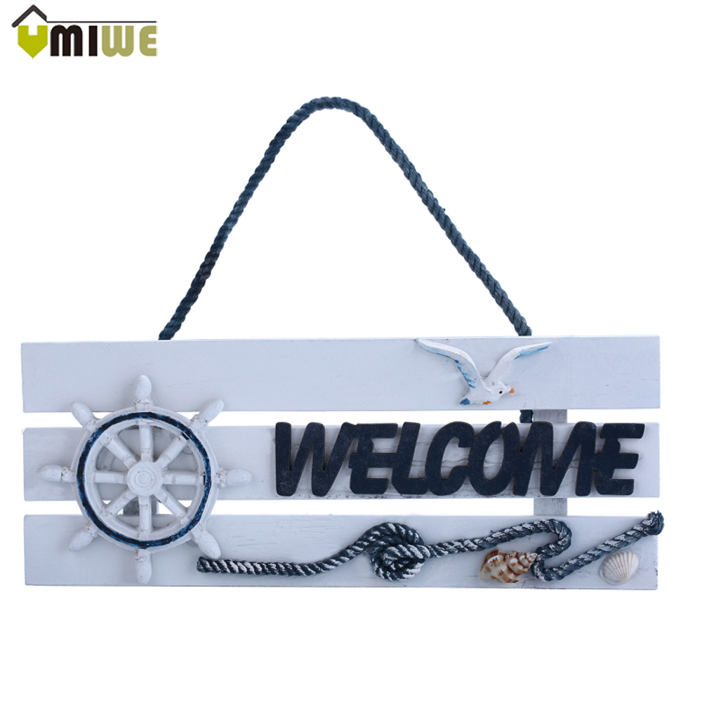 Vintage Style European Design Wooden Home Shop Store Welcome Open Sign Wall Decoration Hanging Wall Craft Nautical Decoration