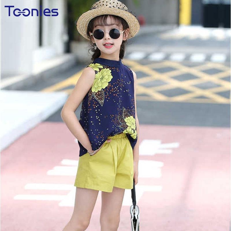 Chiffon Girl Suit Summer 2018 New Fashion T-shirt+Shorts 2pcs Suits High Quality Children Clothing Sets Princess Girls Clothes
