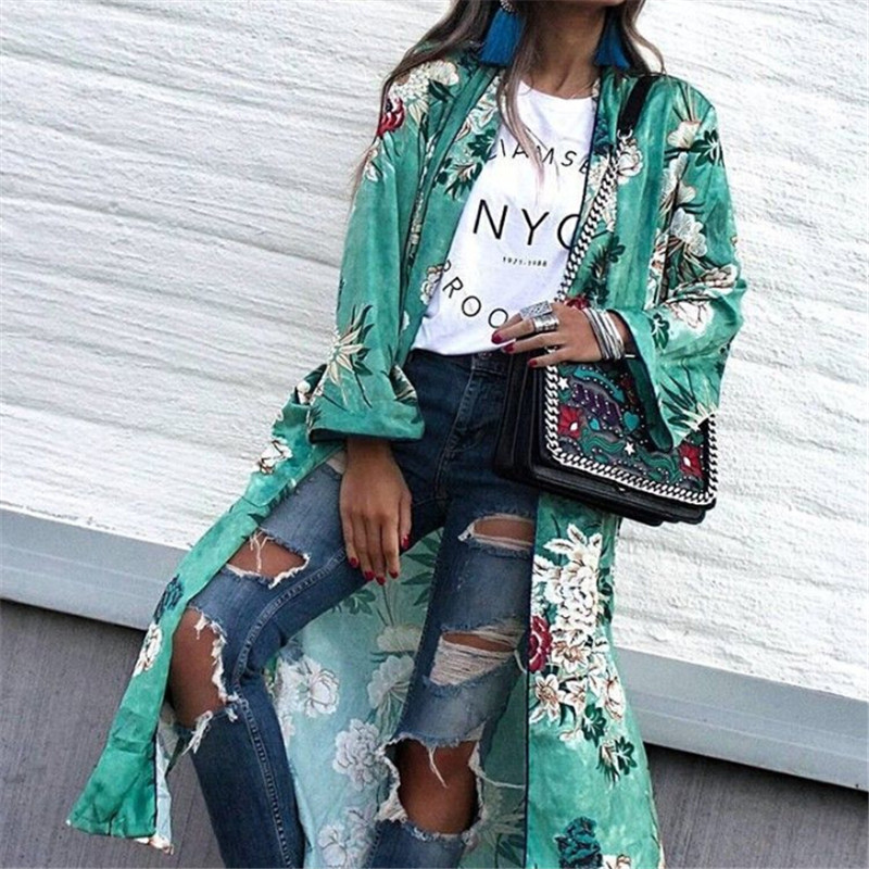 Большие размеры женские цветочный принт свободный пальто Новинка 2018 дамы большой размер длинный кардиган пальто в стиле бохо Повседневная куртка с длинными рукавами блузки