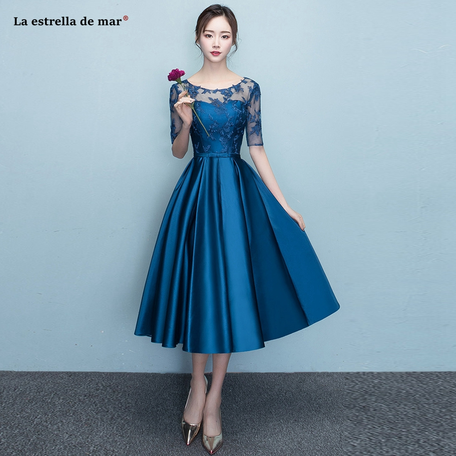 Vestido para madrinha2018 new lace and satin Half sleeve Tea Length navy blue   bridesmaids     dresses   beautiful gaun pesta dewasa