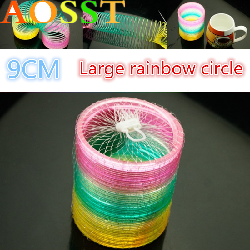9 CM Tuba Children's Toys Magic Circle Rainbow Circle Coiling Spring Toy Boys Girls Gift Parent-child Interaction Game