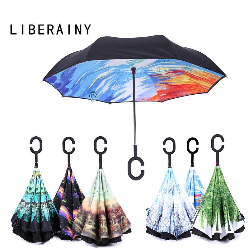 C Handle Black Reverse Folding Umbrella For Proof Windproof Rain Car Inverted Umbrella Double Layer Anti Uv Self Stand Parapluie Home