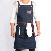 WEEYI Denim Kitchen Cooking Apron With Adjustable Cotton Strap Large Pockets Blue 34x27 Inches For Men