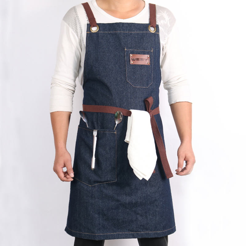 WEEYI Denim Kitchen Cooking Apron with Adjustable Cotton Strap Large Pockets Blue 34x27 Inches Barista Men