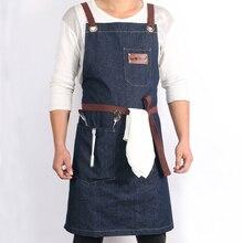 WEEYI деним кухня пособия по кулинарии фартук с регулируемым хлопковым ремешком большие карманы синий 34×27 дюйм(ов) Barista для мужчин и женщи фартук для кухни фартук мужской