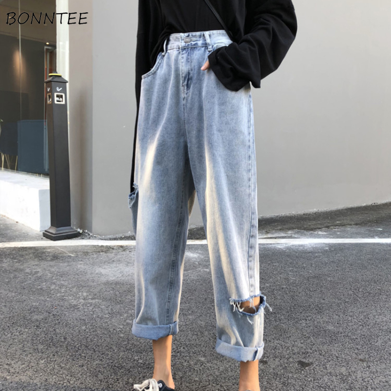 Jeans Women Spring Summer Trendy Korean Style Simple All-match Streetwear High Quality Hole Womens Pants Ulzzang Chic Casual