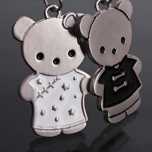 1 par bonito bonito do urso chaveiro cadeia Keychain Keyfob casal amante chaveiro 7DQY