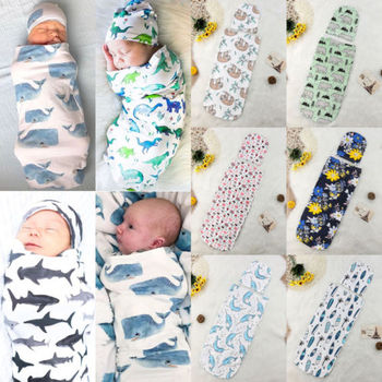 Newborn Baby Sleeping Bag Cute Cartoon Animal Printed Swaddle Blanket Sleeping Swaddle Muslin Wrap+Hat 2pcs New Born Set 2